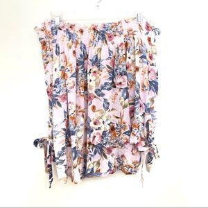 Helmut Lang Floral Off The Shoulder Split Tie Cuff